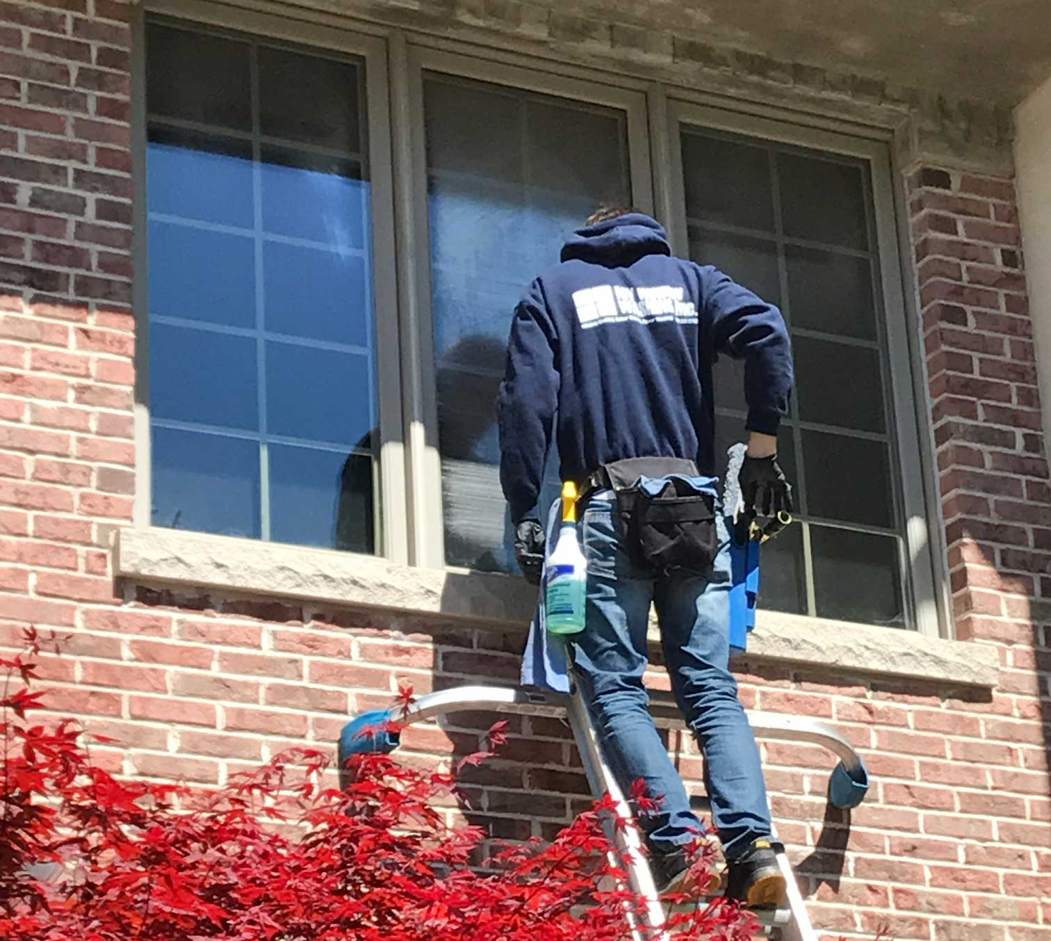 Second floor window cleaning